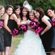 Hot Pink and Black Feather Bouquet