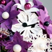Fuschia and White Paper Flower Bouquet