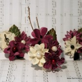 Burgundy and White Paper Flower Corsage