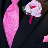 Pint Tinted Paper Flower Boutonniere