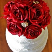Vintage Blooms & Brooches Wedding Cake Topper