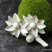 White Paper Flower Boutonniere