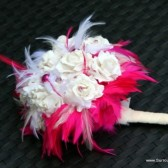 Hot Pink and White Feather Bouquet