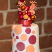 Pink and Orange Bead and Bauble Cake Topper