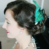 Peacock Feather Hair Fascinator with Vintage Jewelry