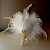 White Feather Bouquet and Rhinestone Cream Handle