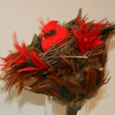 Red Love Bird and Nest Bouquet