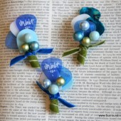 Shades of Blue Guitar Pick Boutonniere