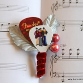 Red Beatles Guitar Pick Boutonniere