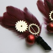 Red Gear and Sprocket Boutonniere