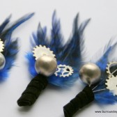 Black and Blue Feathered Gear and Sprocket Boutonniere