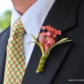 Pink Coral Flower Boutonniere
