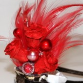 Red Feather and Rose Leopard Corsage