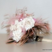 Pink and White Paper Flower Bouquet with Feather and Loepard Accents