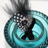 Black and White Skull Feather Boutonniere