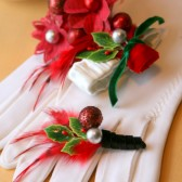 Holiday Red Holly Berry Corsage