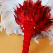 Red and White Feather Bouquet