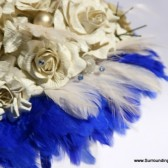 Yellow Paper Flower Bouquet with Royal Blue Feather Accents