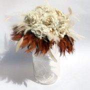 Ivory Paper Flower Bouquet with Natural Feather Accents