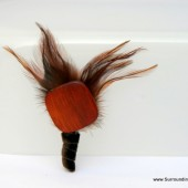 Natural Beauty - Unique Wooden Bead and Feather Boutonniere