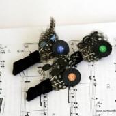 Record Album Boutonniere - Music Note and Record Charm