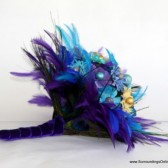 Aqua, Purple, Black and Cream Paper Flower Bouquet