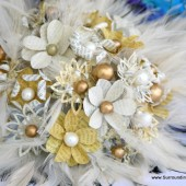 Yellow, White and Gold Paper Flower and Feather bouquet