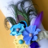 Blue and Yellow Peacock Feather Corsage
