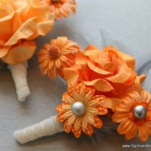 Orange and Grey Flower Corsage