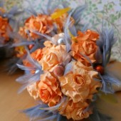 Orange and Gray Paper Flower Bouquet