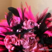 Hot Pink and Black Paper Flower Bouquet