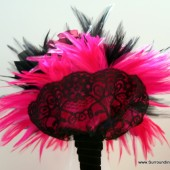 Hot Pink and Black Feather and Lace Bouquet