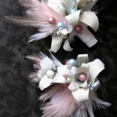 Pale Pink and Blue Feather and Paper Flower Corsage