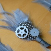 Grey Blue Gear and Sprocket Boutonniere
