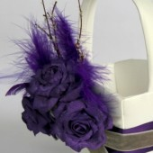 Custom Purple Paper Flower Flower Girl Basket Decoration