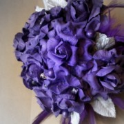 Royal Purple Paper Flower Bouquet with Silver Accents