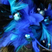 Royal Blue and Black Feather Bouquet