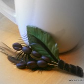 Coffee Bean and Feather Boutonniere