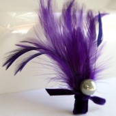 Purple Feathered Boutonniere