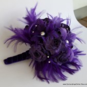 Royal Purple Paper Flower and Feather Bouquet