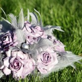 Lilac and Gray Paper Flower and Feather Bouquet