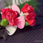 Pink and White Guitar Pick Boutonniere