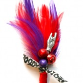 Leopard Rock and Roll Boutonniere - Red and Purple