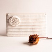 Papyrus Ivory White Bridal Pleated Clutch by Lolos