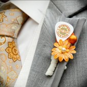 Orange and White Guitar Pick Boutonniere