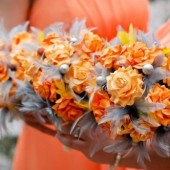 Orange and Grey Paper Flower Bouquet