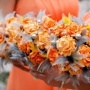 Orange and Gray Paper Flower and Feather Bouquet