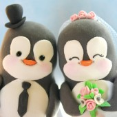 Custom Penguin wedding cake toppers