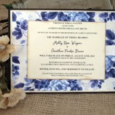 Wedding Invitation Blue White Floral