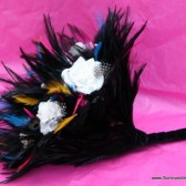Brightly Colored Skull and Feather Bouquet
